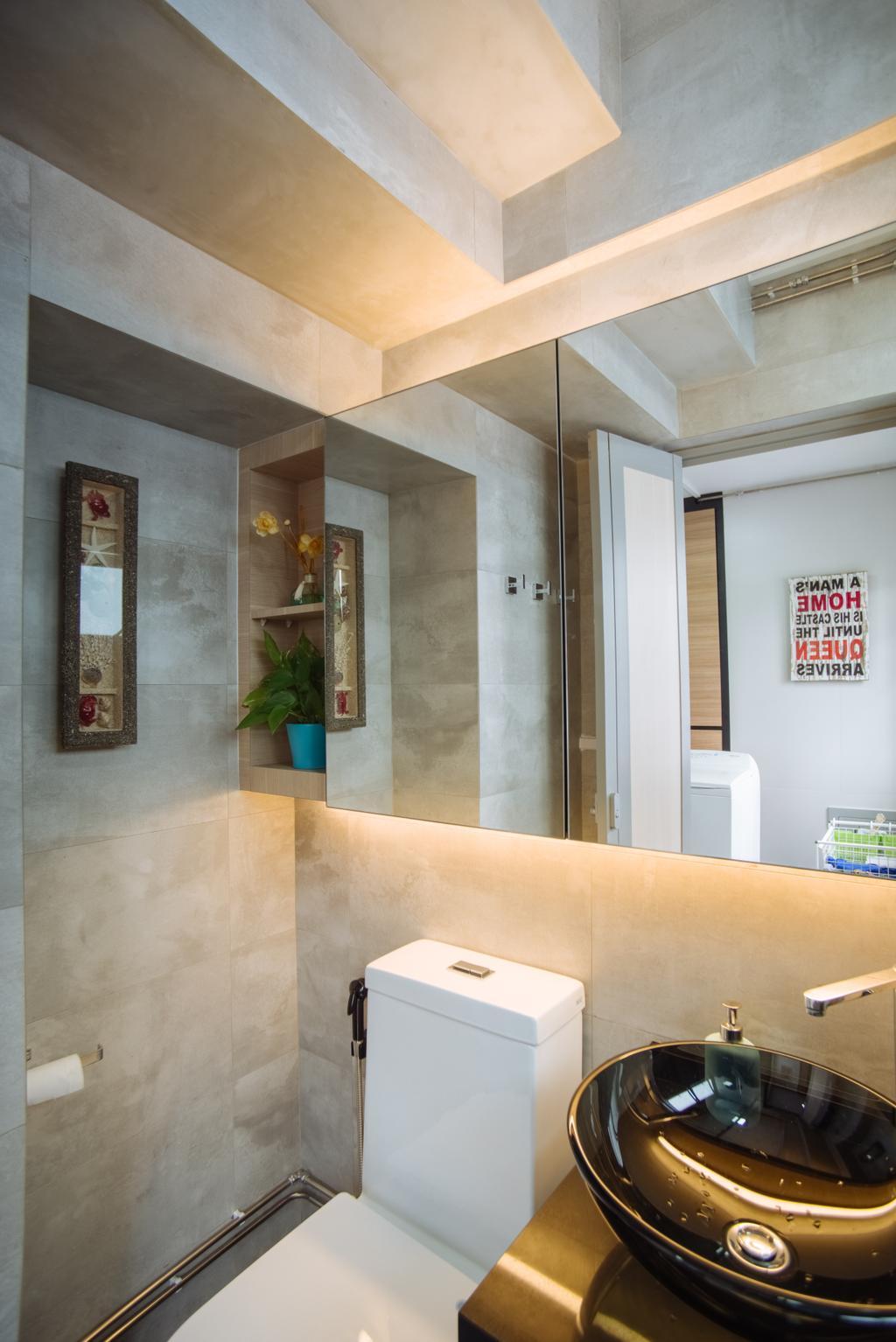 Contemporary, HDB, Bathroom, Bukit Batok, Interior Designer, Mink Design, Plywood, Wood