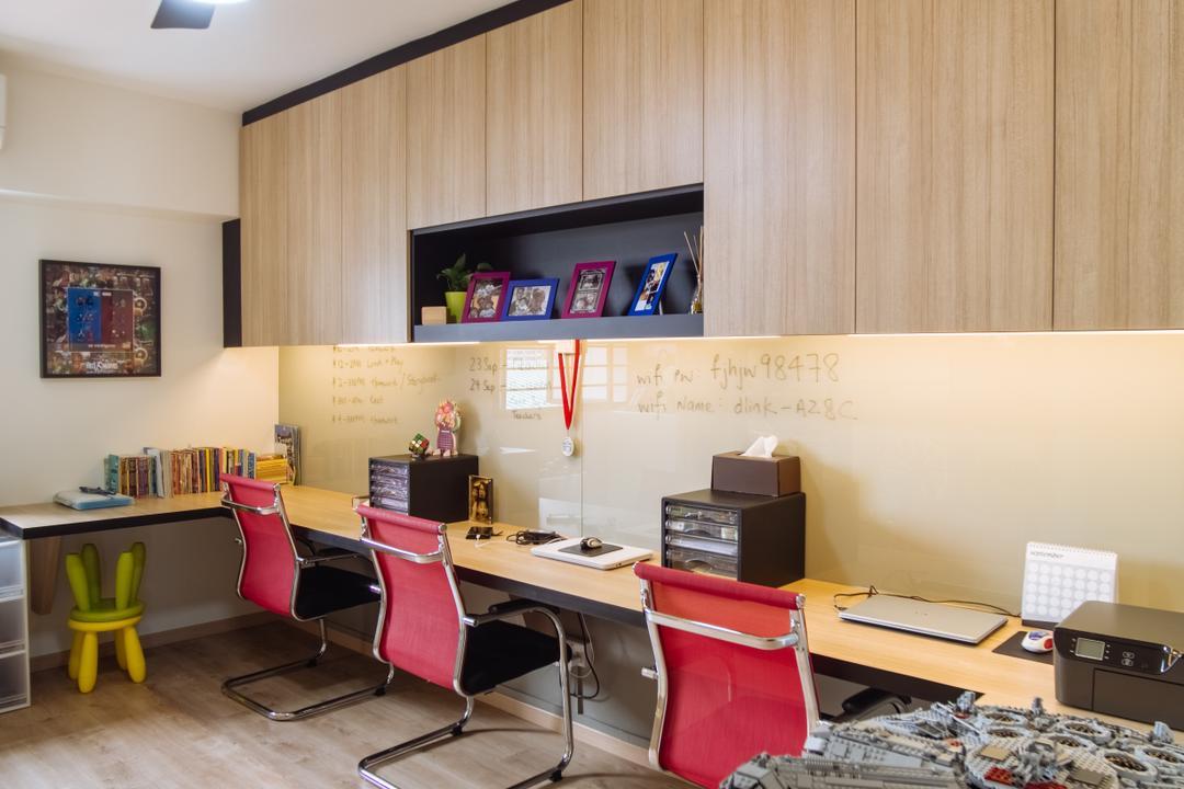 Bukit Batok, Mink Design, Contemporary, Study, HDB, Shelf, Couch, Furniture, Sink, Luggage, Suitcase, Desk, Table