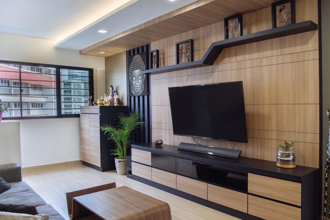 Bukit Batok, Mink Design, Contemporary, Living Room, HDB, Electronics, Lcd Screen, Monitor, Screen, Flora, Jar, Plant, Potted Plant, Pottery, Vase