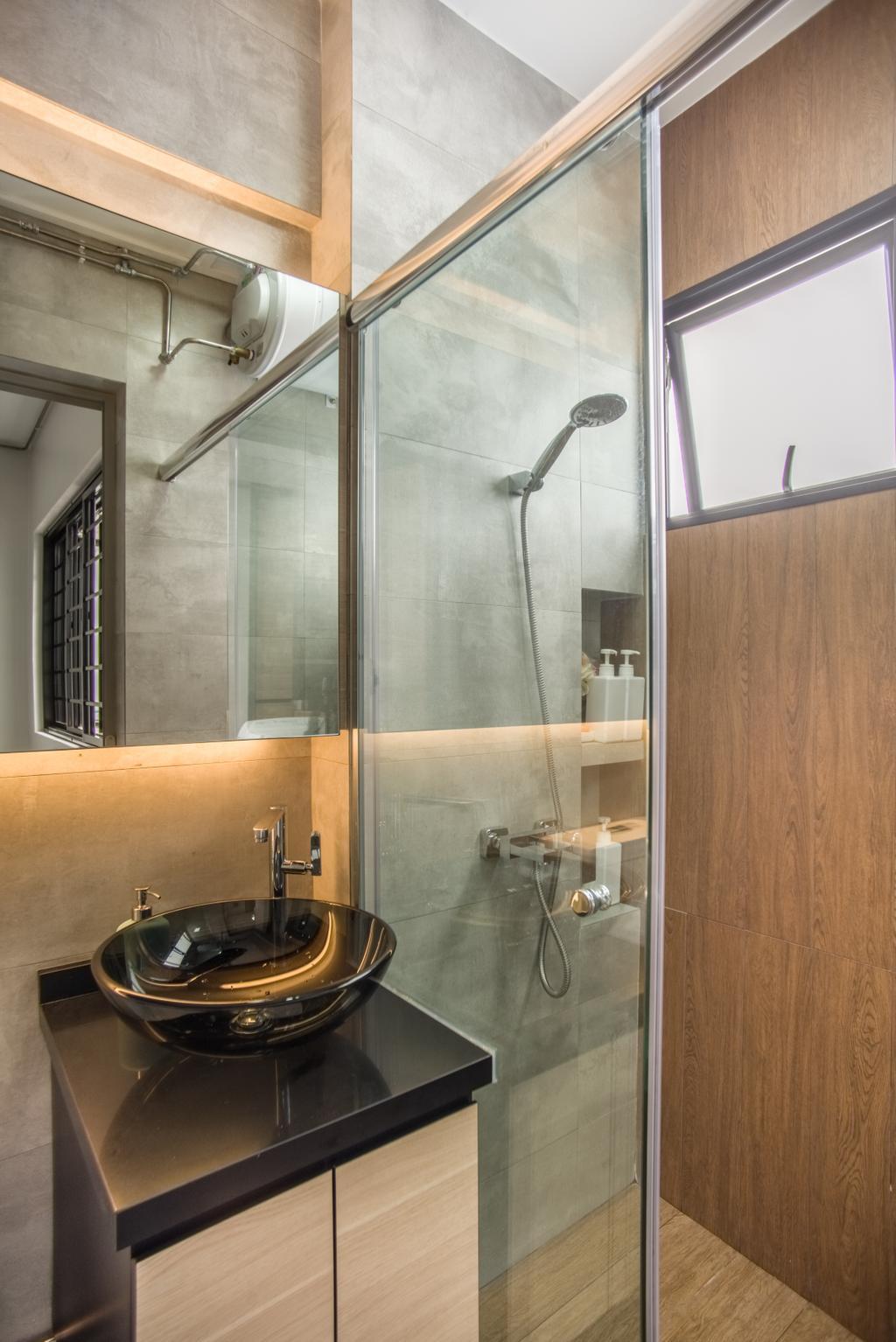 Contemporary, HDB, Bathroom, Bukit Batok, Interior Designer, Mink Design, Sink, Indoors, Interior Design, Room