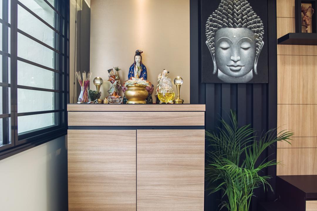 Bukit Batok, Mink Design, Contemporary, HDB, Flora, Jar, Plant, Potted Plant, Pottery, Vase, Art, Buddha, Worship, Bamboo, Dill, Food, Seasoning