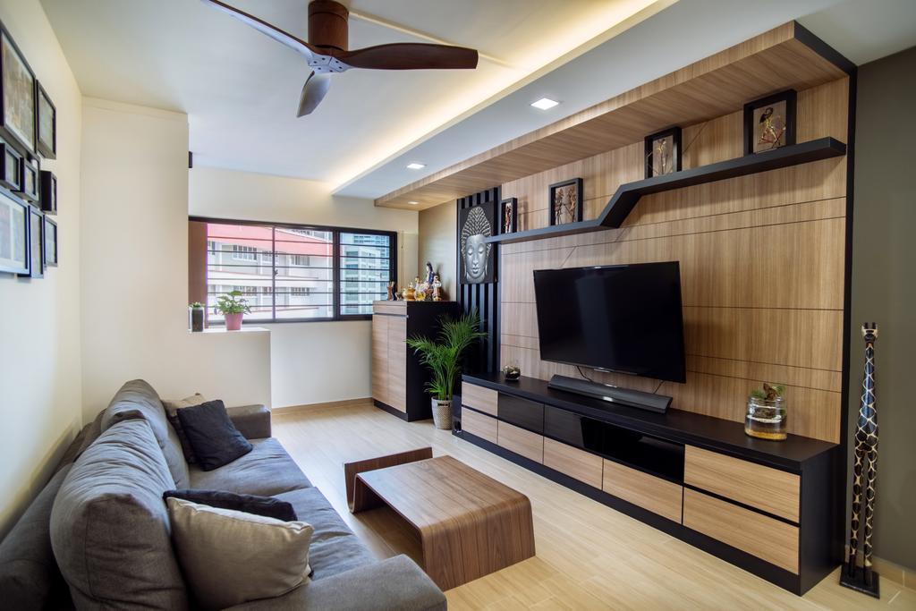 Contemporary, HDB, Living Room, Bukit Batok, Interior Designer, Mink Design, Electronics, Entertainment Center, Indoors, Interior Design