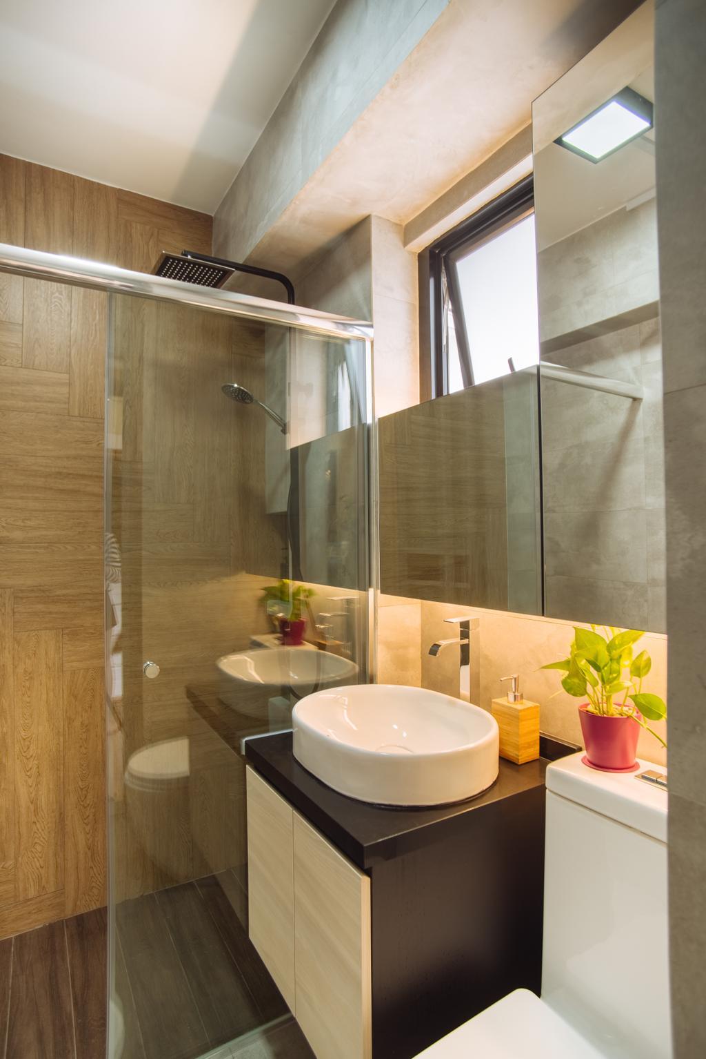 Contemporary, HDB, Bathroom, Bukit Batok, Interior Designer, Mink Design, Sink, Flora, Jar, Plant, Potted Plant, Pottery, Vase, Indoors, Interior Design, Room, Building, Housing