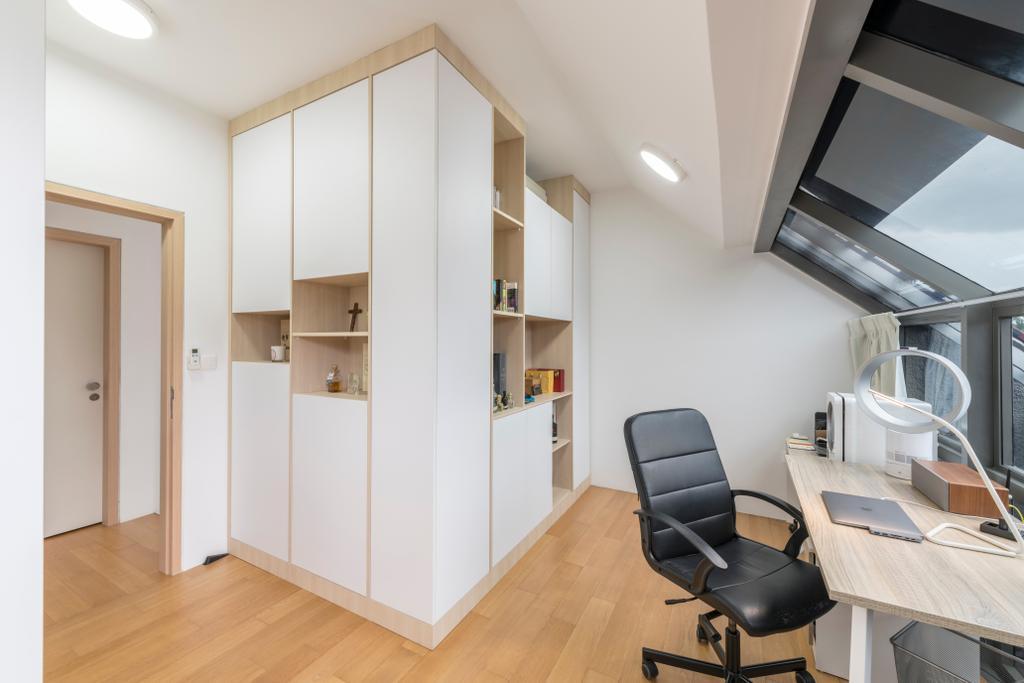 Scandinavian, Condo, Study, Watten Rise, Interior Designer, ARK-hitecture, Chair, Furniture, HDB, Building, Housing, Indoors