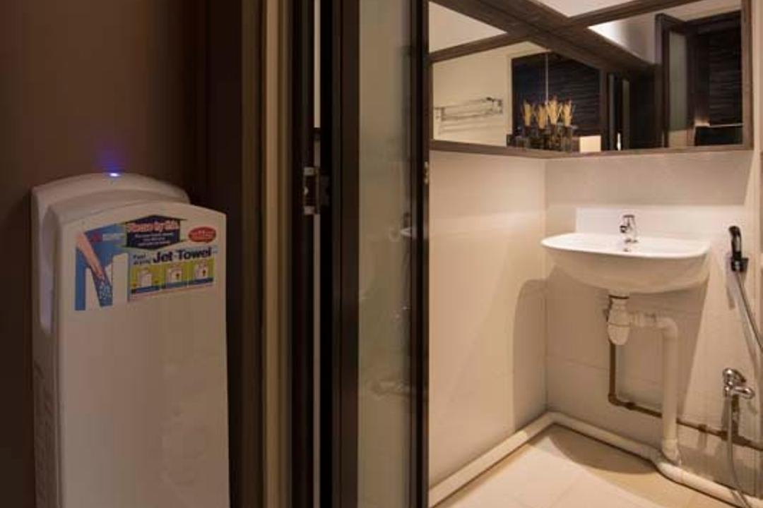 Boon Siew D'sign Showroom, Boon Siew D'sign, Industrial, Bathroom, Commercial, Folding Door, Sink, Dryer, Grass Carpet, Tiles, Mirror, Indoors, Interior Design, Room, Fireplace, Hearth