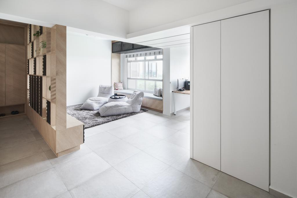Minimalistic, HDB, Living Room, Tampines GreenForest, Architect, asolidplan, Scandinavian, Flooring
