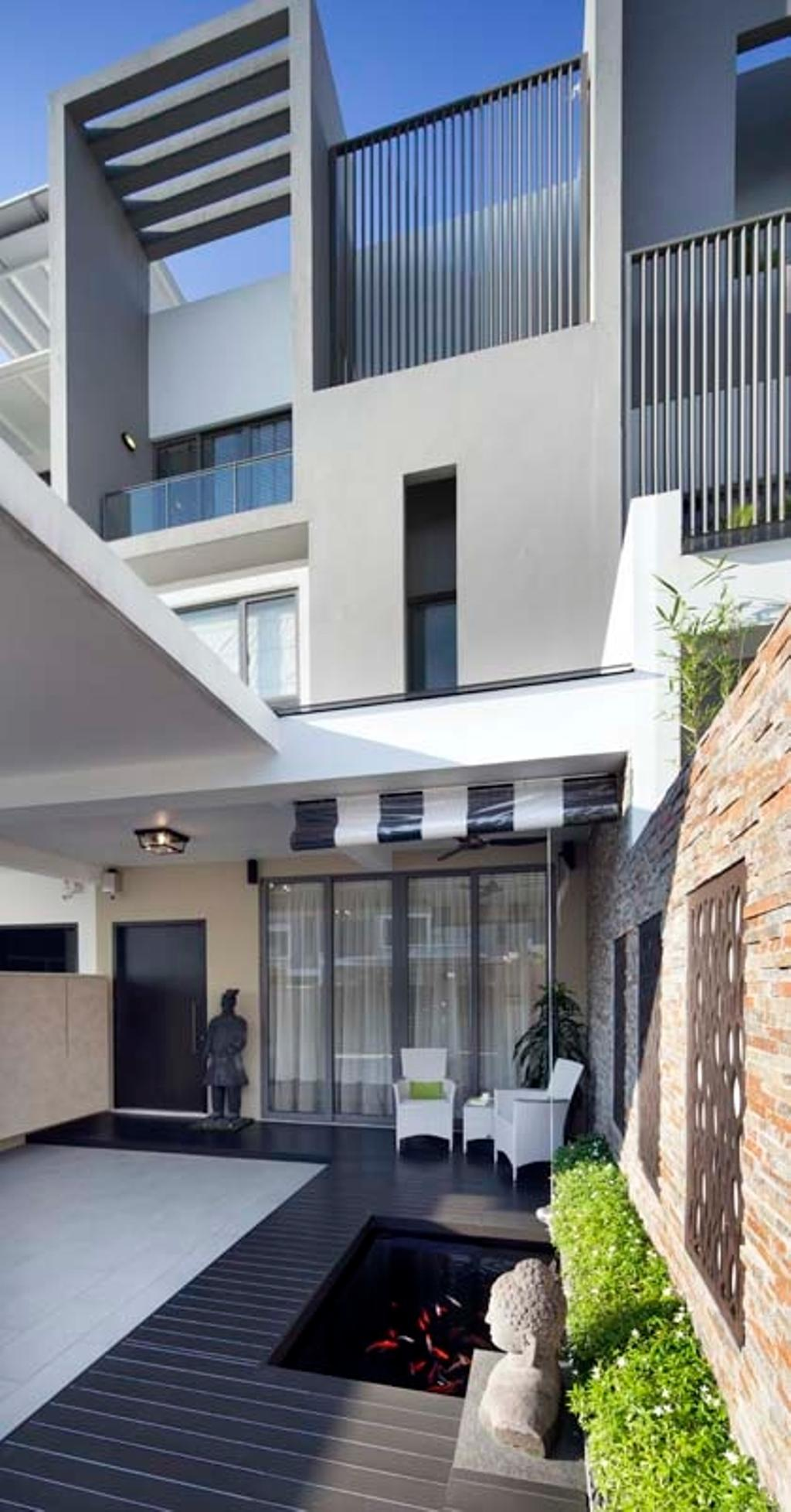 Contemporary, Landed, Garden, Pavillion Circle, Interior Designer, Boon Siew D'sign, Blinds, Wood Floor, Plants, Statue, Patio, Chairs, Flora, Jar, Plant, Potted Plant, Pottery, Vase, Architecture, Building, Skylight, Window, Appliance, Electrical Device, Microwave, Oven, Electronics, Monitor, Screen, Tv, Television