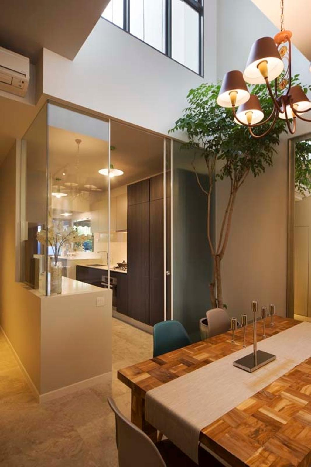 Contemporary, Landed, Dining Room, Pavillion Circle, Interior Designer, Boon Siew D'sign, Dining Table, Glass Partition, Cupboards, Cabinets, Dining Chair, Flora, Jar, Plant, Potted Plant, Pottery, Vase