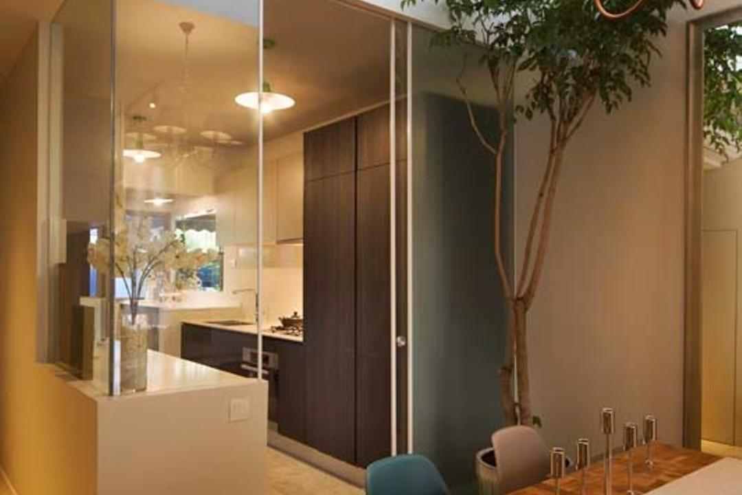 Pavillion Circle, Boon Siew D'sign, Contemporary, Dining Room, Landed, Dining Table, Glass Partition, Cupboards, Cabinets, Dining Chair, Flora, Jar, Plant, Potted Plant, Pottery, Vase