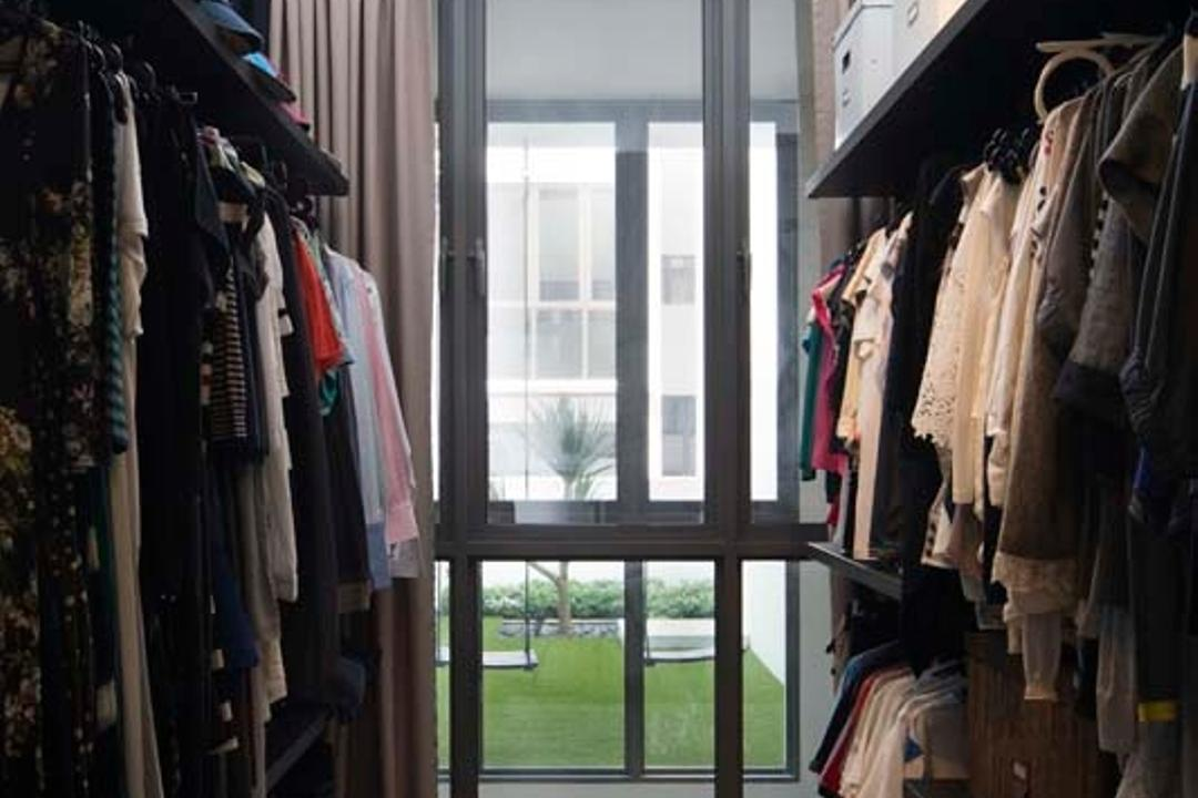 Pavillion Circle, Boon Siew D'sign, Contemporary, Bedroom, Landed, Walk In Wardrobe, Wood Floor, Shelving, Glass Windows, Curtain, Window, Closet, Furniture, Wardrobe