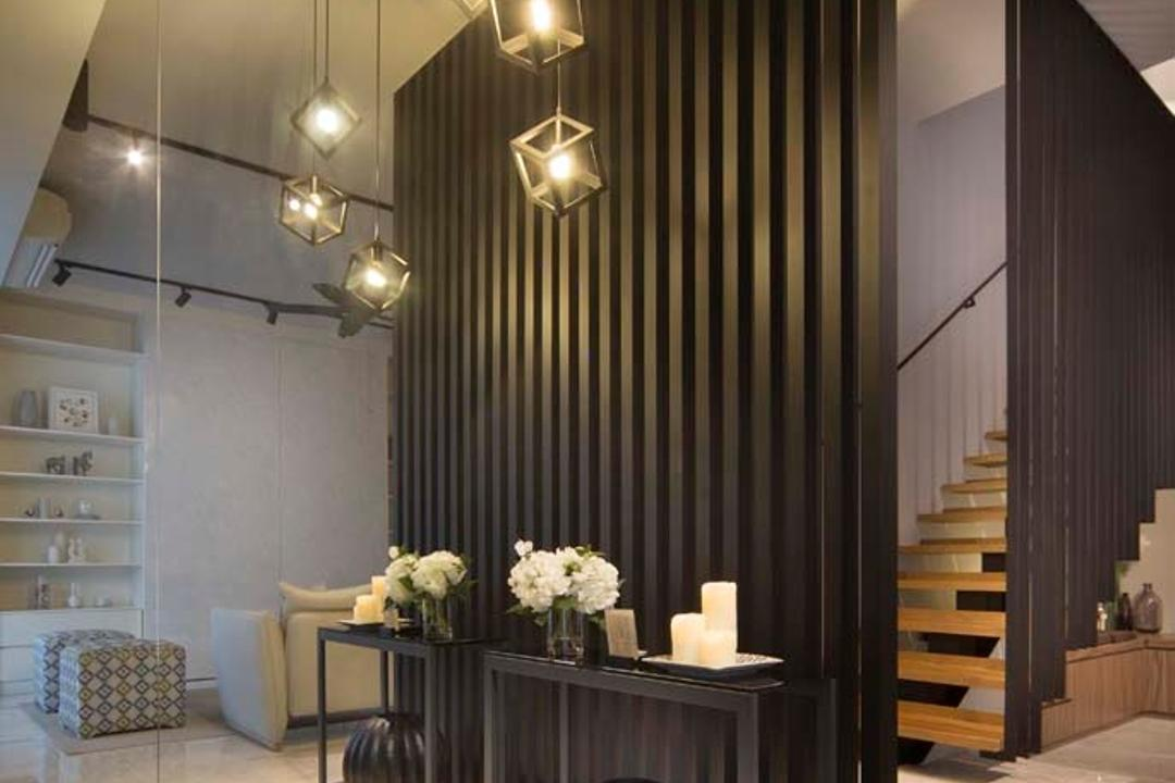 Pavillion Circle, Boon Siew D'sign, Contemporary, Living Room, Landed, Hanging Lights, Table, Wood Partition, Stiars, Mirror, Bookcase, Furniture, Flora, Jar, Plant, Potted Plant, Pottery, Vase
