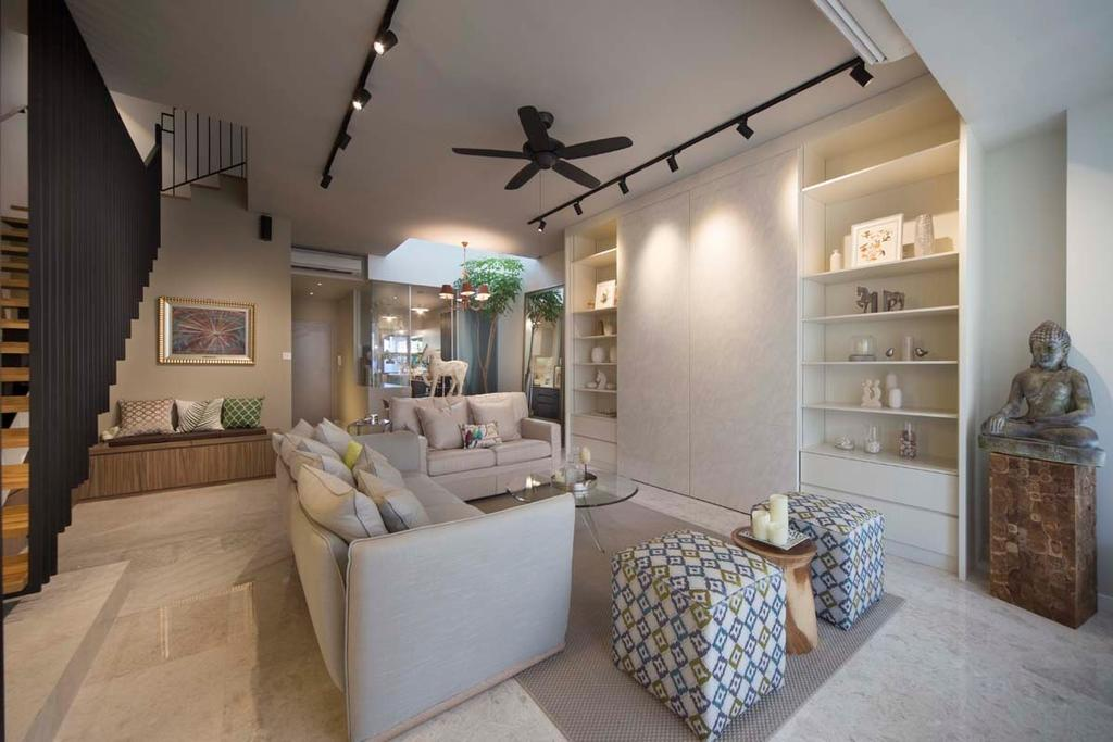 Contemporary, Landed, Living Room, Pavillion Circle, Interior Designer, Boon Siew D'sign, Ceiling Fan, Tracking Lights, White, Sofa, Ottoman, Coffee Table, Statue, Cushions, Iles, Shleving, Stairs, Couch, Furniture, Home Decor, Linen, Tablecloth