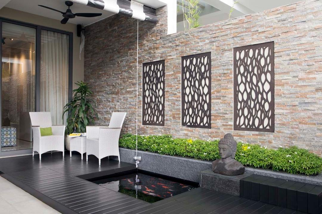 Pavillion Circle, Boon Siew D'sign, Contemporary, Garden, Landed, Statude Head, Pond, Wood Floor, Chairs, Ceiling Fan, Flora, Jar, Plant, Potted Plant, Pottery, Vase, Art, Buddha, Worship, Brick, HDB, Building, Housing, Indoors, Loft