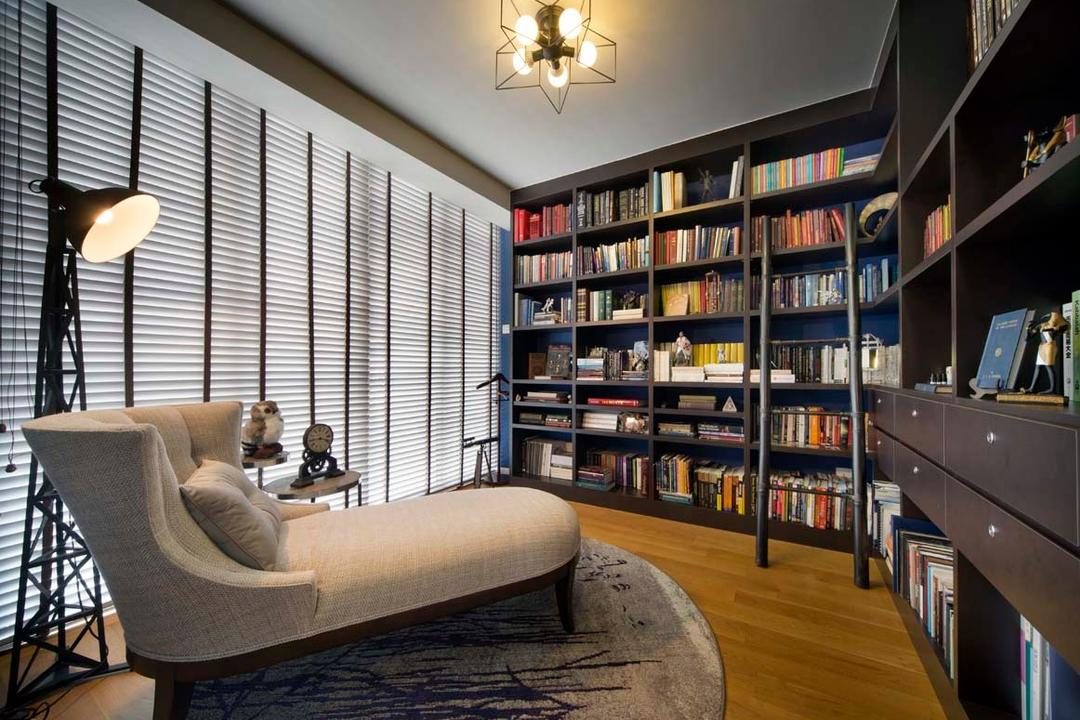Pavillion Circle, Boon Siew D'sign, Contemporary, Study, Landed, Blinds, Shleving, Book Shelves, Standing Lamp, Hanging Light, Chair, Furniture, Bookcase, Indoors, Interior Design, Library, Room