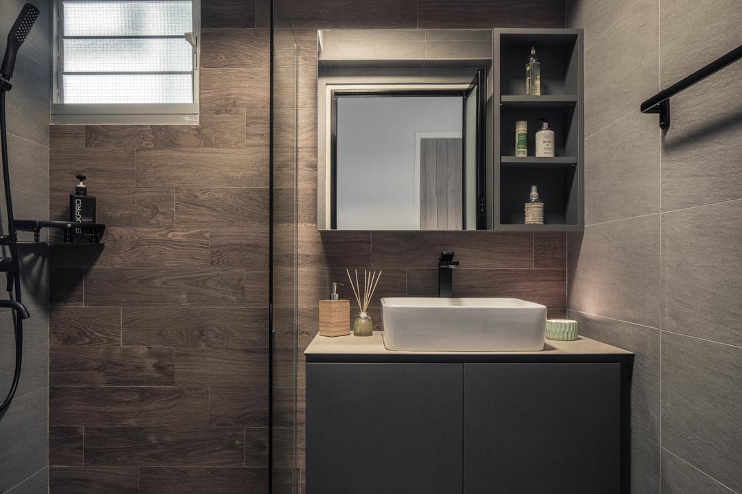 Anchorvale Crescent, Ethereall, Scandinavian, Bathroom, HDB, Indoors, Interior Design, Room, Cabinet, Furniture, Medicine Chest, Bench