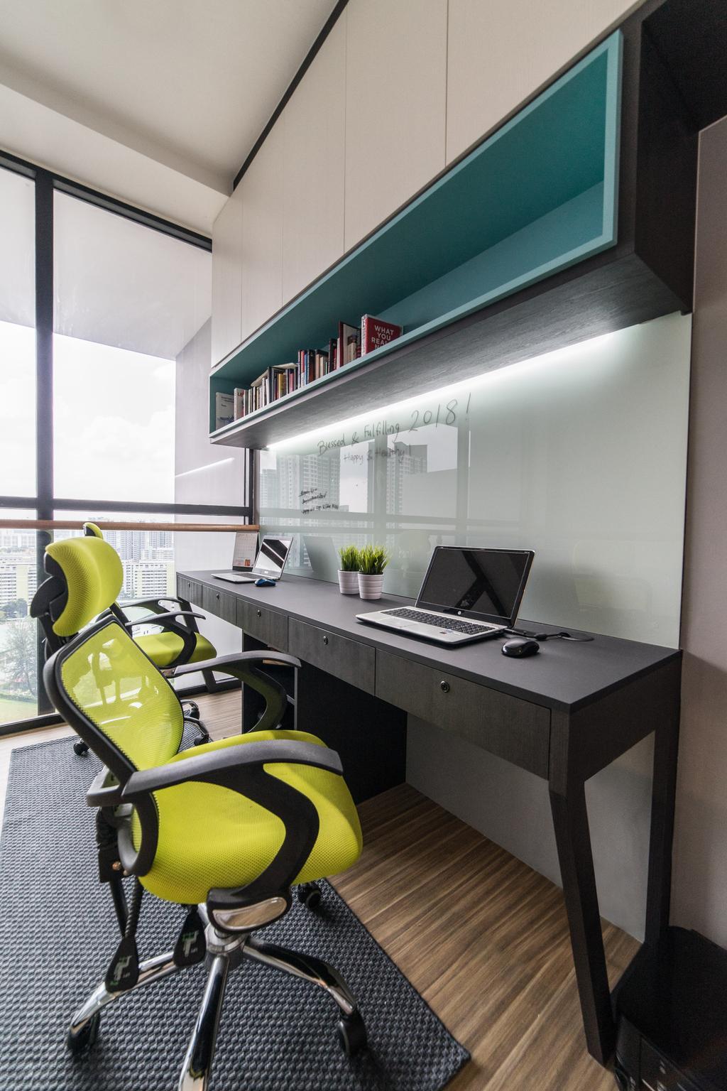 Modern, Condo, Study, The Trilinq, Interior Designer, Ethereall, Computer, Electronics, Laptop, Pc, Light, Traffic Light, Chair, Furniture, Desk, Table