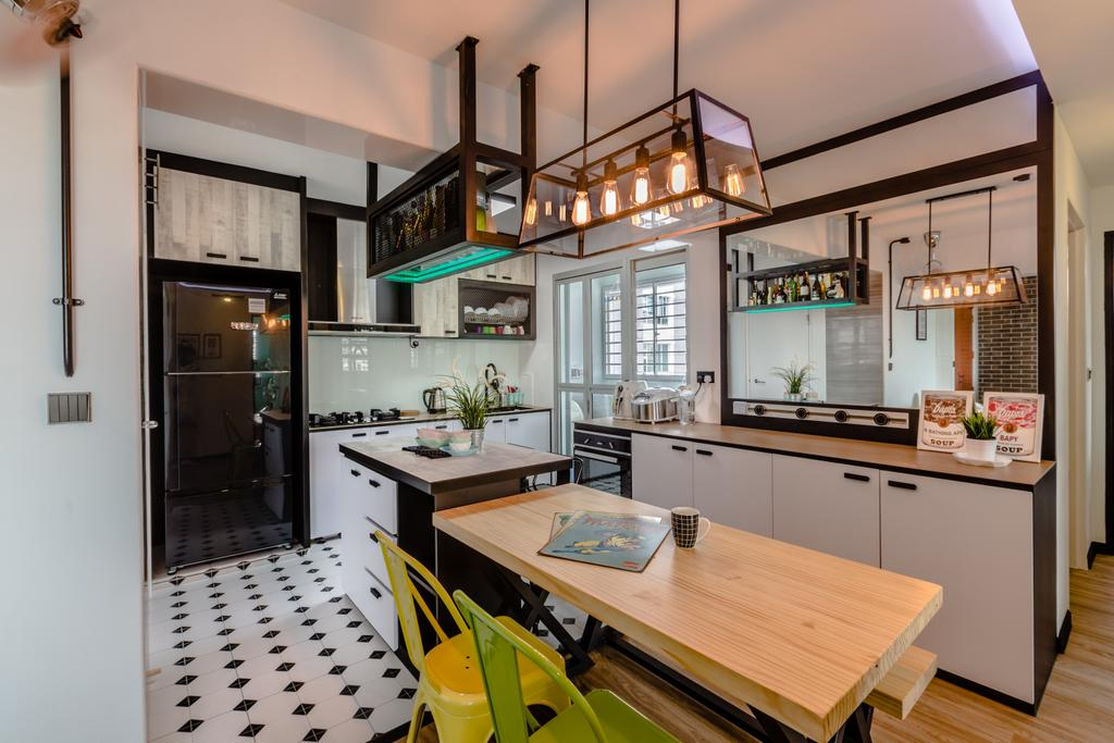 Eclectic, HDB, Kitchen, Boon Lay Avenue, Interior Designer, Ethereall, Industrial, Indoors, Interior Design, Room