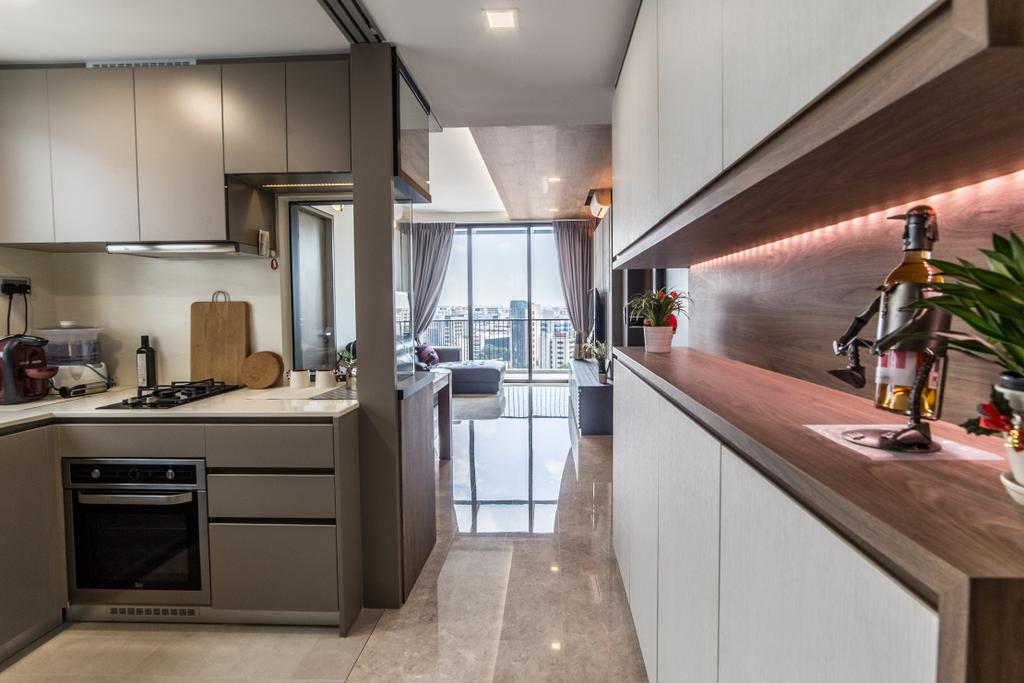 Transitional, Condo, Kitchen, The Venue Residences, Interior Designer, Ethereall, Appliance, Electrical Device, Oven, Indoors, Interior Design, Room, Robot, HDB, Building, Housing