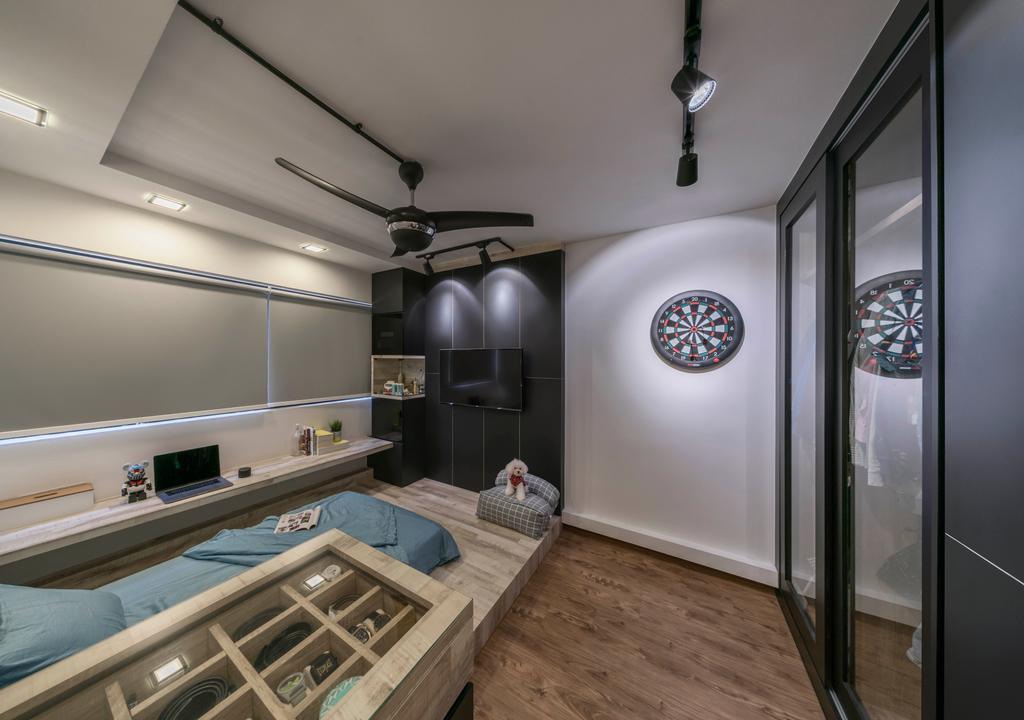 Industrial, HDB, Study, Yishun Avenue 7, Interior Designer, Ethereall, Plywood, Wood, Indoors, Interior Design, Kitchen, Room