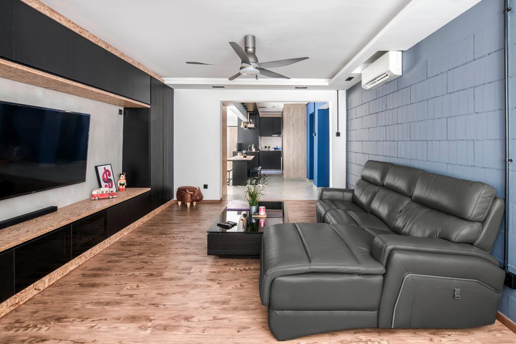 Industrial, HDB, Living Room, Yishun Avenue 7, Interior Designer, Ethereall, Couch, Furniture, Indoors, Interior Design