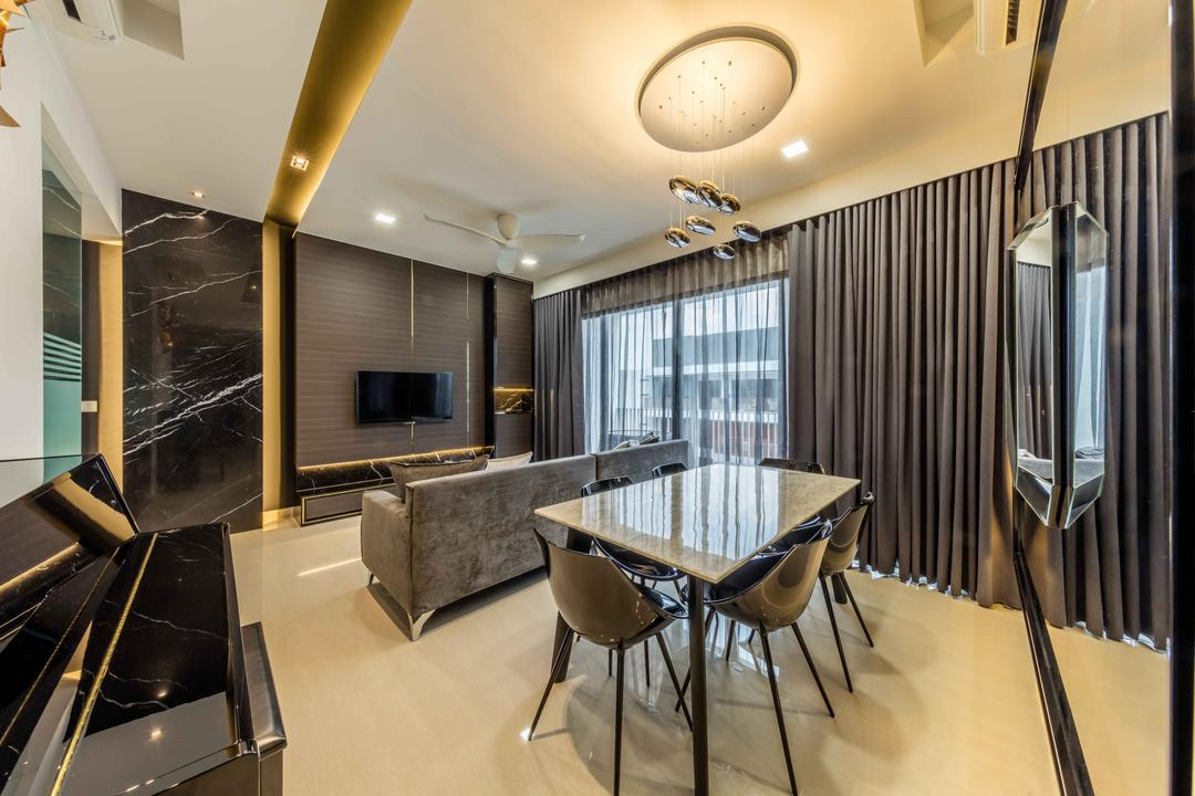 Jewel @ Buangkok, Ciseern, Modern, Dining Room, Condo, Chair, Furniture, Electronics, Entertainment Center, Home Theater, Arch, Arched, Architecture, Building, Vault Ceiling, Conference Room, Indoors, Meeting Room, Room, Appliance, Electrical Device, Oven
