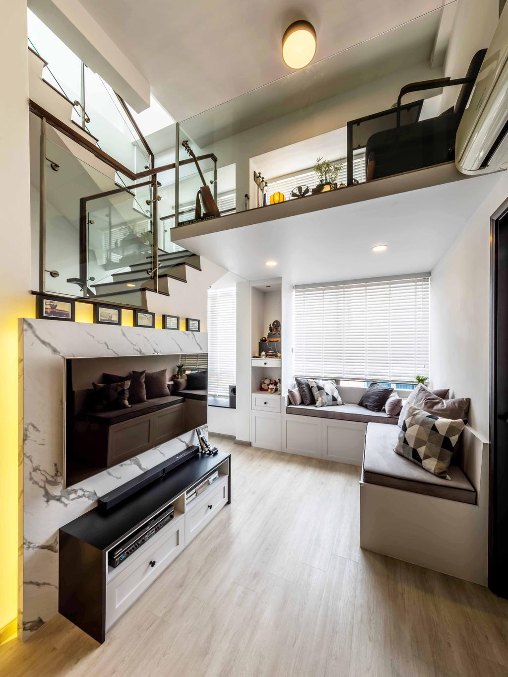 Scandinavian, Condo, Living Room, Kembangan Suites, Interior Designer, Ciseern, HDB, Building, Housing, Indoors, Loft