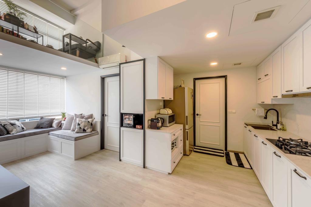 Scandinavian, Condo, Kitchen, Kembangan Suites, Interior Designer, Ciseern, Flooring, Appliance, Electrical Device, Oven, Sink, Indoors, Interior Design