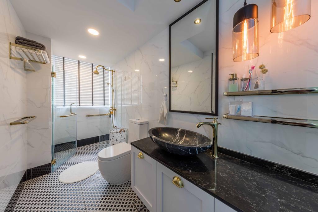 Scandinavian, Condo, Bathroom, Kembangan Suites, Interior Designer, Ciseern, Sink, Light Fixture