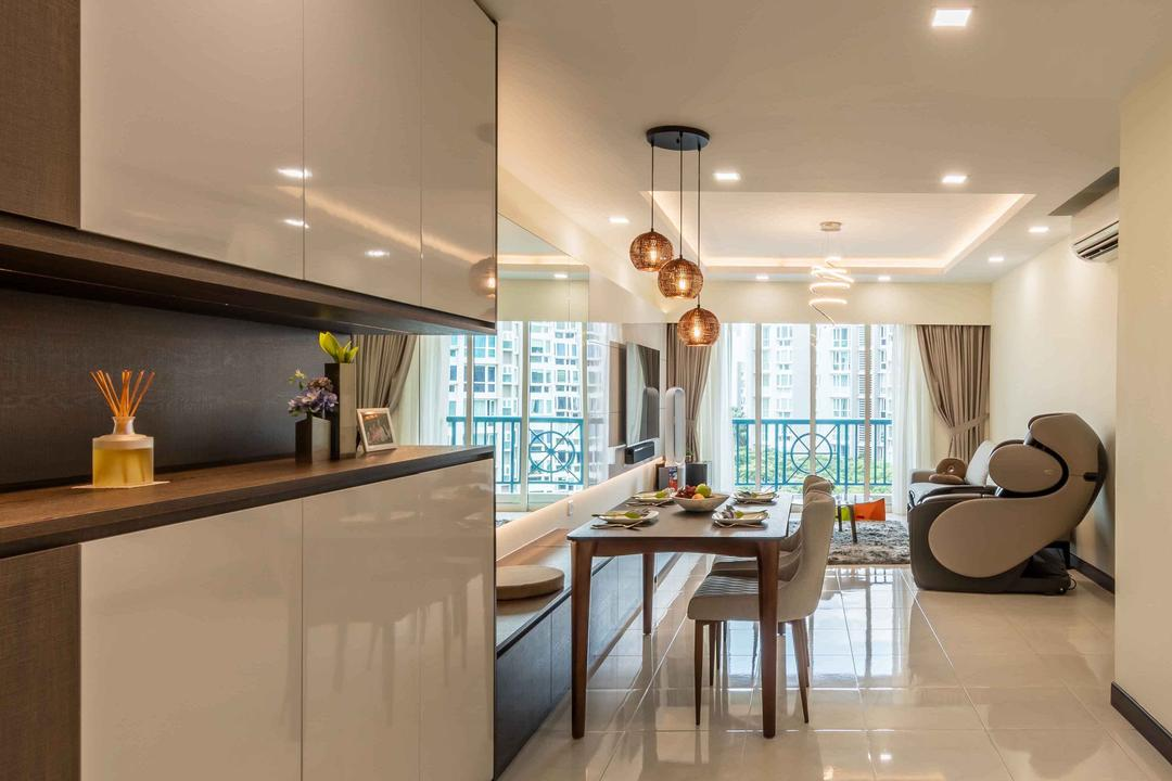 Melville Park, Ciseern, Contemporary, Condo, Dining Table, Furniture, Table, Dining Room, Indoors, Interior Design, Room, Light Fixture, Kitchen, Cardboard