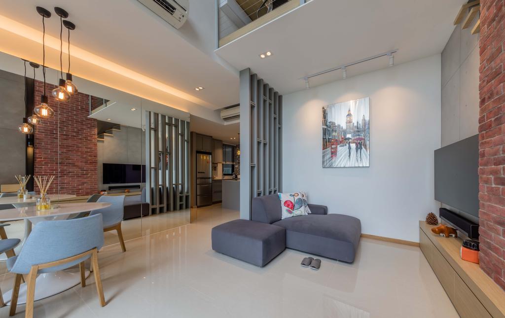 Modern, Condo, Living Room, The Trilinq, Interior Designer, Ciseern, Industrial, Indoors, Room