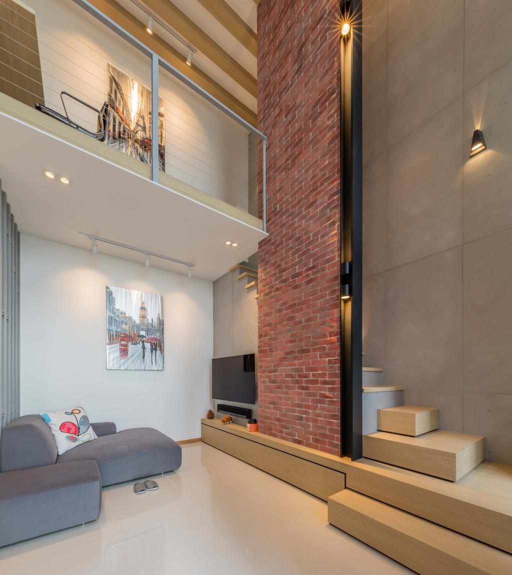 Modern, Condo, Living Room, The Trilinq, Interior Designer, Ciseern, Industrial, High Ceiling, Feature Wall, HDB, Building, Housing, Indoors, Loft, Bedroom, Interior Design, Room, Brick