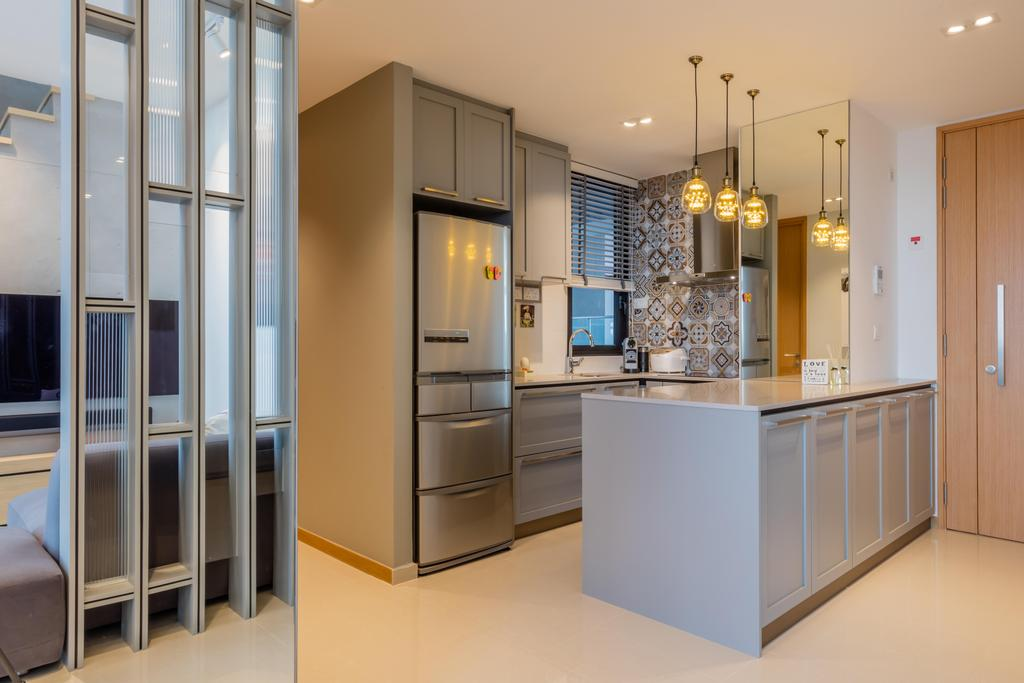 Modern, Condo, Kitchen, The Trilinq, Interior Designer, Ciseern, Industrial, Light Fixture