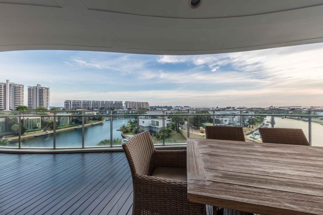 Turquoise @ Sentosa Cove, Ciseern, Modern, Balcony, Condo, Couch, Furniture, Deck, Porch