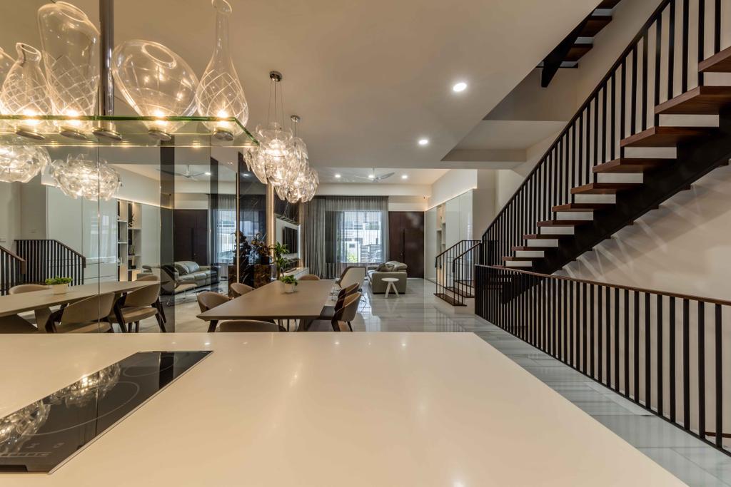 Contemporary, Landed, Serangoon Gardens, Interior Designer, Ciseern, Glass, Light Fixture, Dining Table, Furniture, Table, Conference Room, Indoors, Meeting Room, Room, Corridor