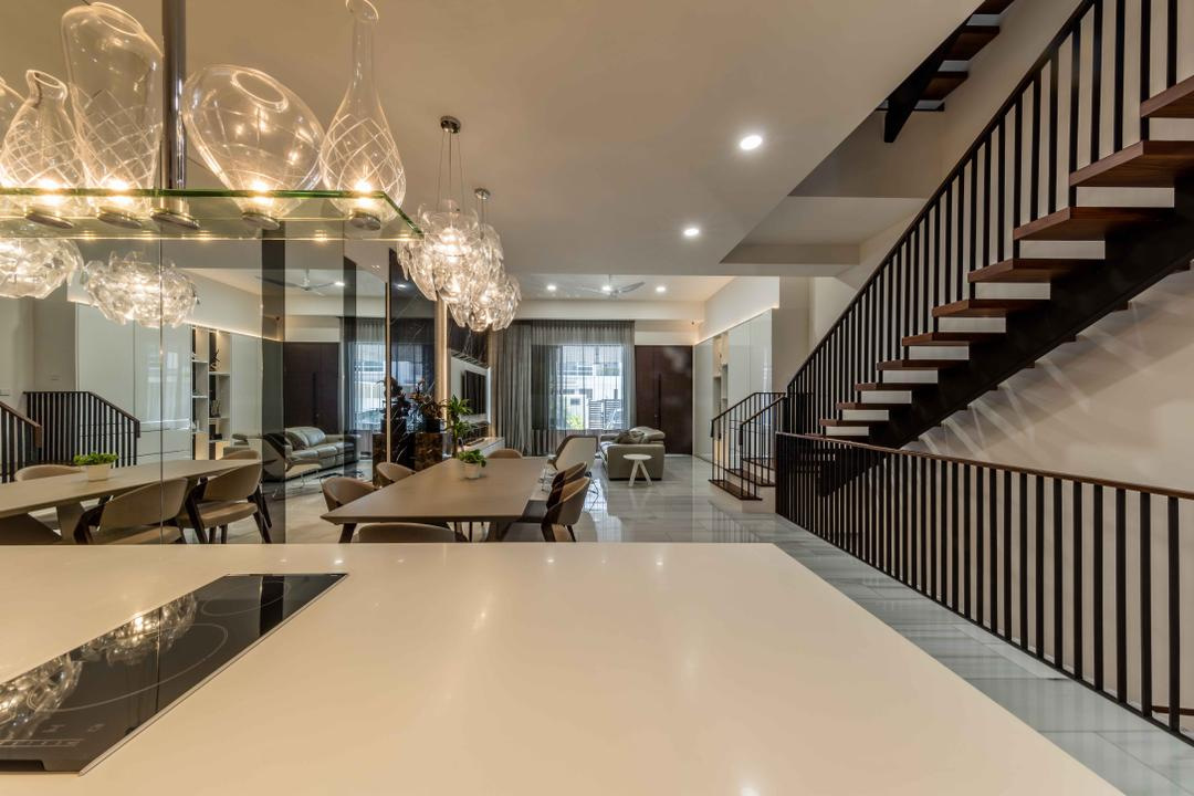Serangoon Gardens, Ciseern, Contemporary, Landed, Glass, Light Fixture, Dining Table, Furniture, Table, Conference Room, Indoors, Meeting Room, Room, Corridor