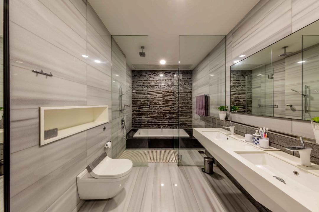 Serangoon Gardens, Ciseern, Contemporary, Bathroom, Landed, Bathtub, Bath Tub, Sunken Bath, Indoors, Interior Design, Room