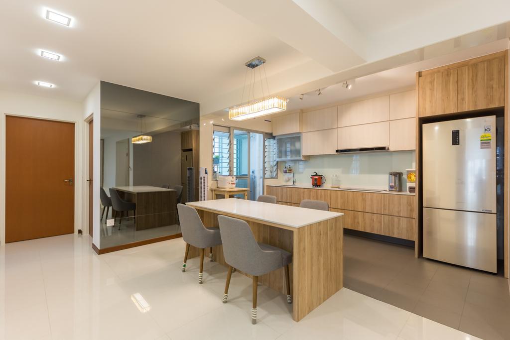 Modern, HDB, Kitchen, Sumang Lane, Interior Designer, D5 Studio Image, Dining Table, Furniture, Table