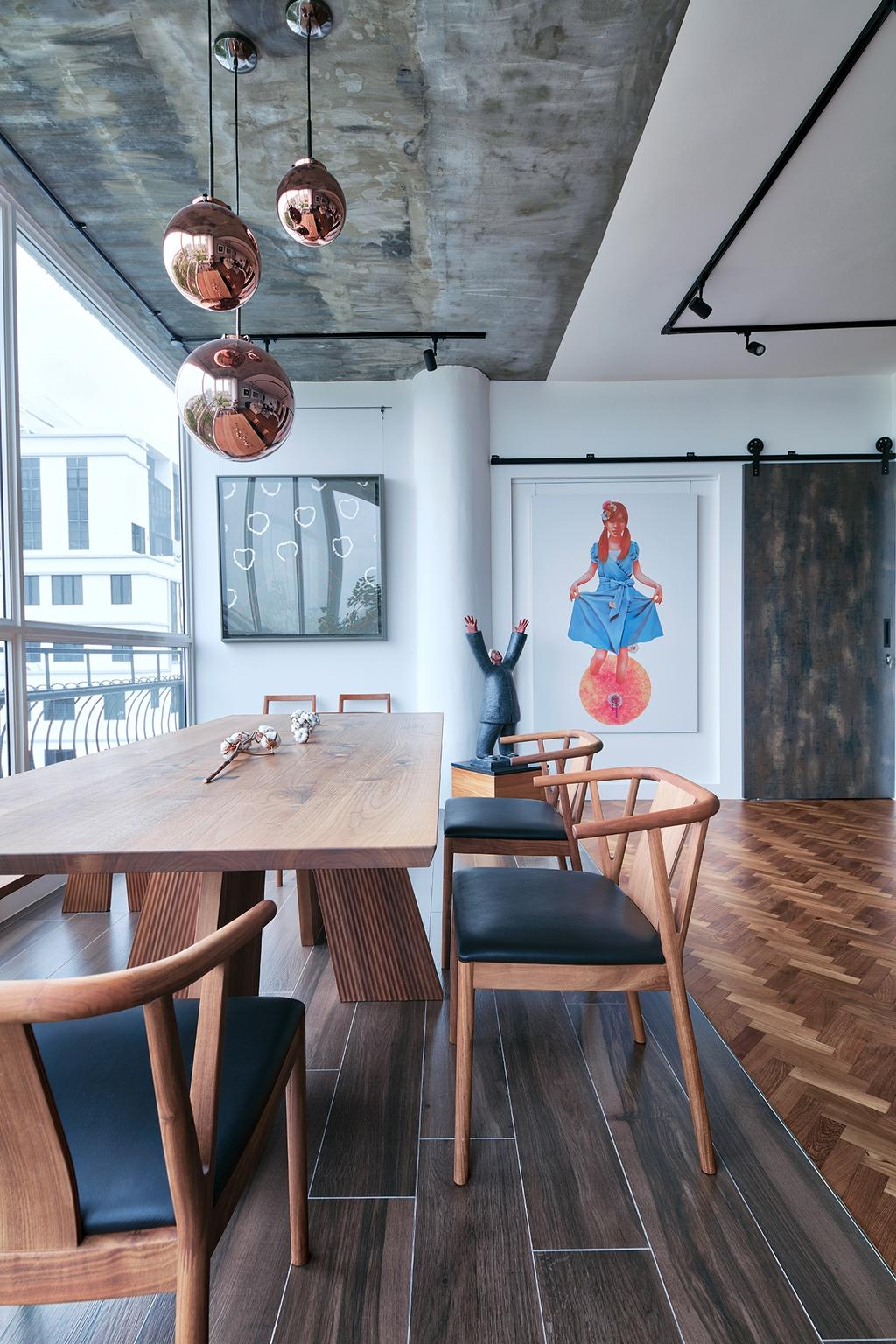 Industrial, Condo, Dining Room, Jaya Tower, Interior Designer, Free Space Intent, Eclectic, Chair, Furniture, Human, People, Person, Indoors, Interior Design, Room, Dining Table, Table