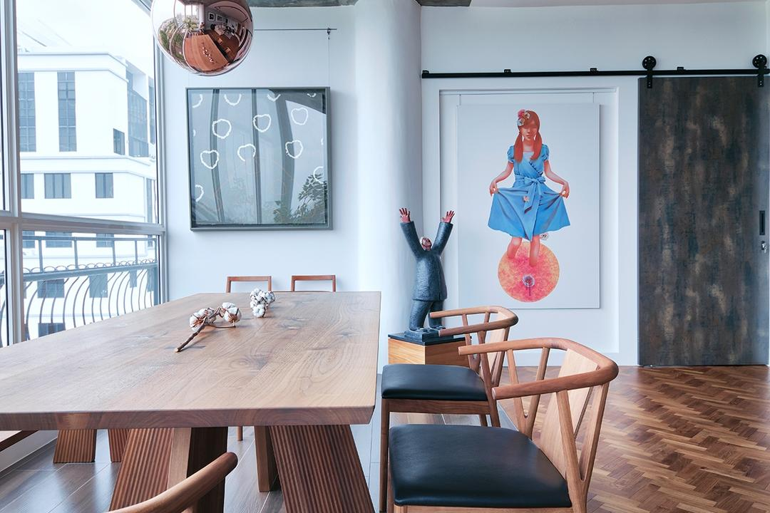Jaya Tower, Free Space Intent, Industrial, Eclectic, Dining Room, Condo, Chair, Furniture, Human, People, Person, Indoors, Interior Design, Room, Dining Table, Table