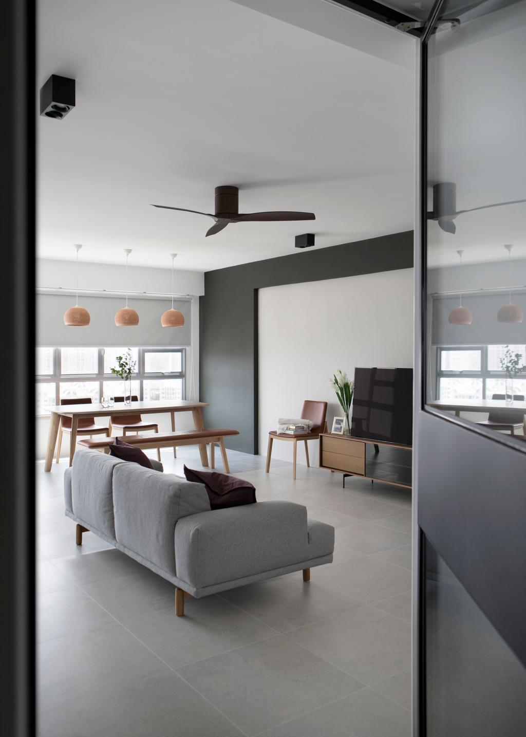 Minimalist, HDB, Living Room, Ang Mo Kio Street 21, Interior Designer, The Scientist, Curtain, Home Decor, Window, Window Shade, Furniture, Sideboard