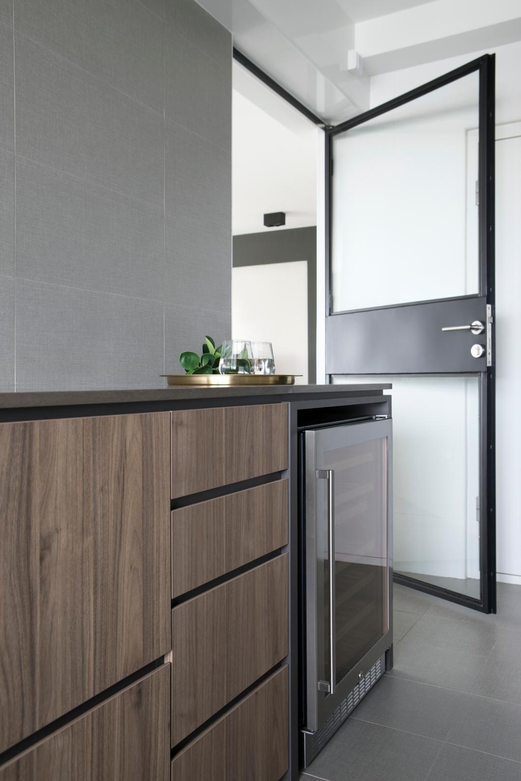 Minimalist, HDB, Kitchen, Ang Mo Kio Street 21, Interior Designer, The Scientist, Mirror, Appliance, Electrical Device, Fridge, Refrigerator, Furniture, Sideboard