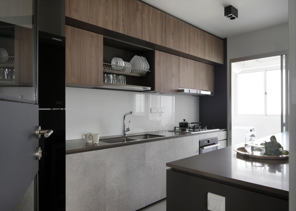 Minimalist, HDB, Kitchen, Ang Mo Kio Street 21, Interior Designer, The Scientist, Plate Rack