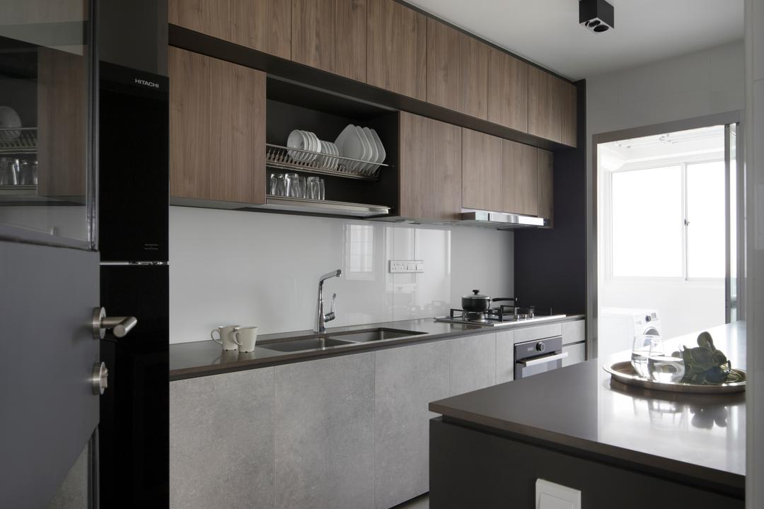 Ang Mo Kio Street 21, The Scientist, Minimalist, Kitchen, HDB, Plate Rack