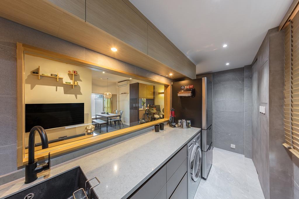 摩登, 私家樓, 廚房, 城暉大廈, 室內設計師, am PLUS, 簡約, Indoors, Interior Design