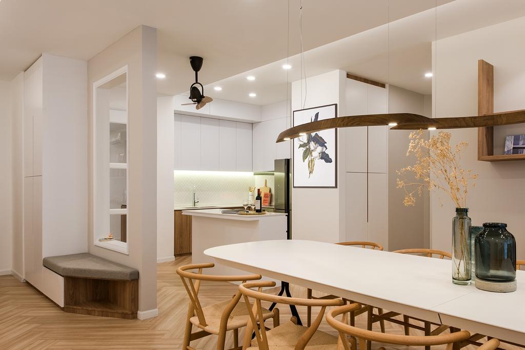 Minimalistic, Condo, Kitchen, Araville, Interior Designer, Pocket Square, Dining Table, Furniture, Table, Chair, Dining Room, Indoors, Interior Design, Room