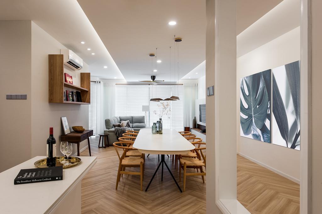 Minimalistic, Condo, Dining Room, Araville, Interior Designer, Pocket Square, Dining Table, Furniture, Table, Indoors, Interior Design, Flooring, Room