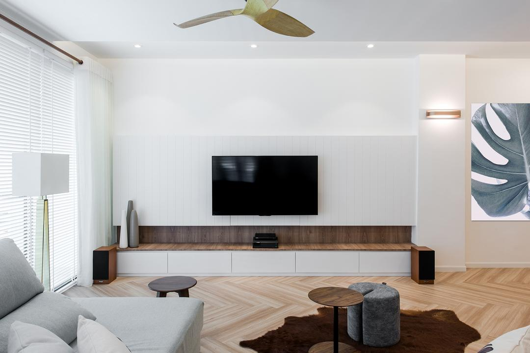 Araville, Pocket Square, Minimalistic, Living Room, Condo, Indoors, Interior Design, Electronics, Entertainment Center, Home Theater, Furniture, Table