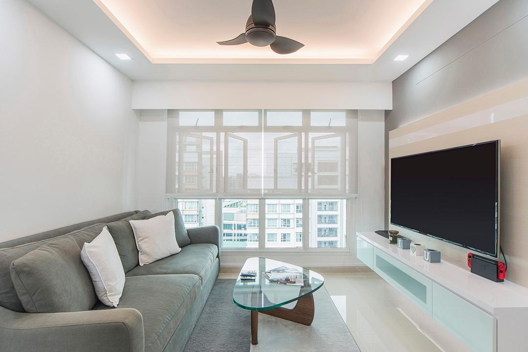 Punggol Drive, Cozy Ideas Interior Design, Scandinavian, Living Room, HDB, Couch, Furniture, Mirror, Electronics, Lcd Screen, Monitor, Screen, Indoors, Room, Chair, Interior Design