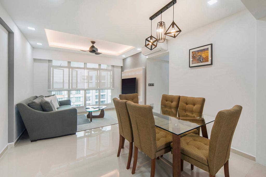 Scandinavian, HDB, Dining Room, Punggol Drive, Interior Designer, Cozy Ideas Interior Design, Couch, Furniture, Chair, Indoors, Interior Design, Room, Light Fixture