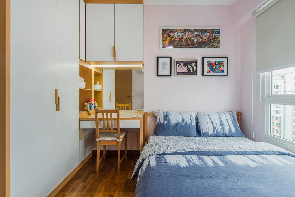Scandinavian, HDB, Bedroom, Punggol Drive, Interior Designer, Cozy Ideas Interior Design, Indoors, Interior Design, Room, Shelf, Dining Table, Furniture, Table